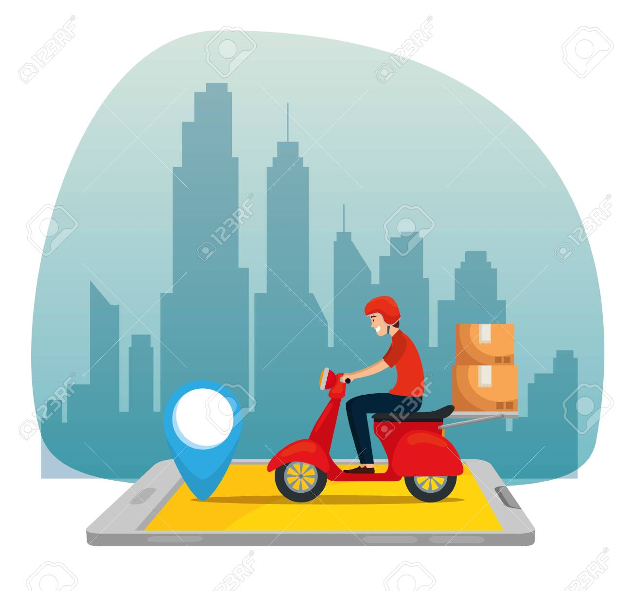 man with motorcycle and boxes packages in the smartphone to delivery service vector illustration - 137221395