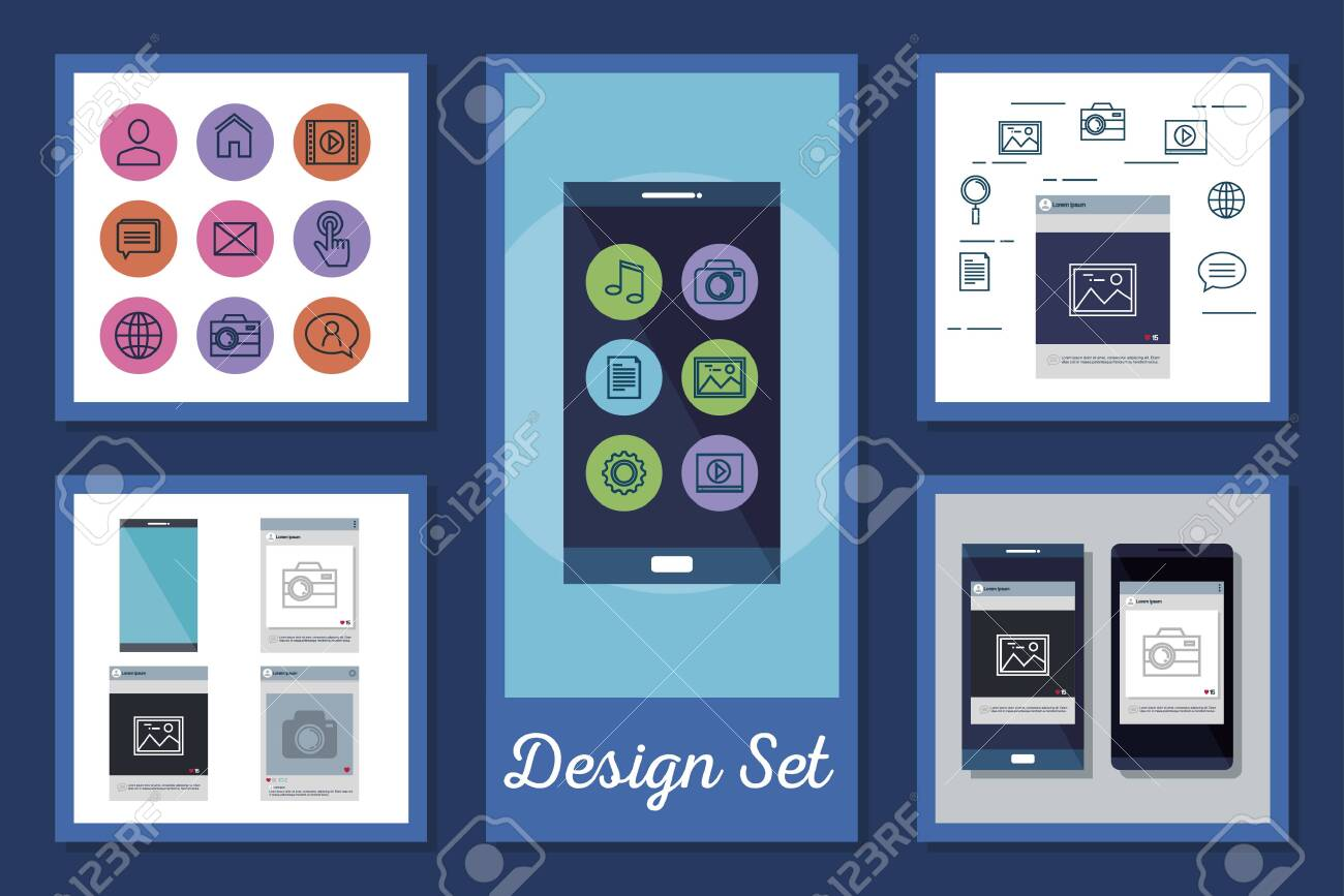 designs set of smartphone and social media icons vector illustration design - 137684287