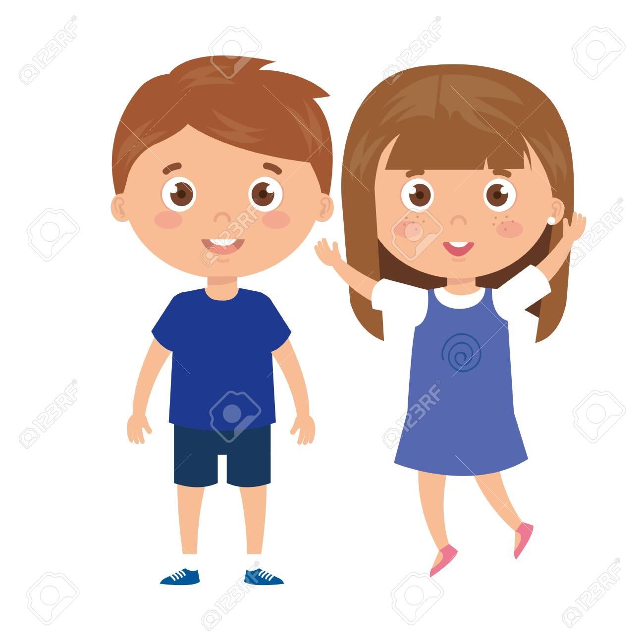 children standing on white background vector illustration design - 139089329