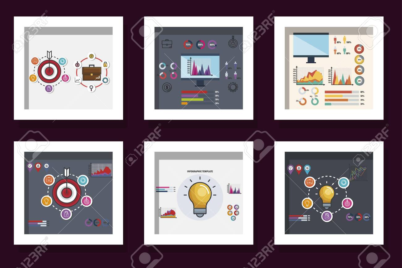 bundle of statistics infographic icons vector illustration design - 139201969