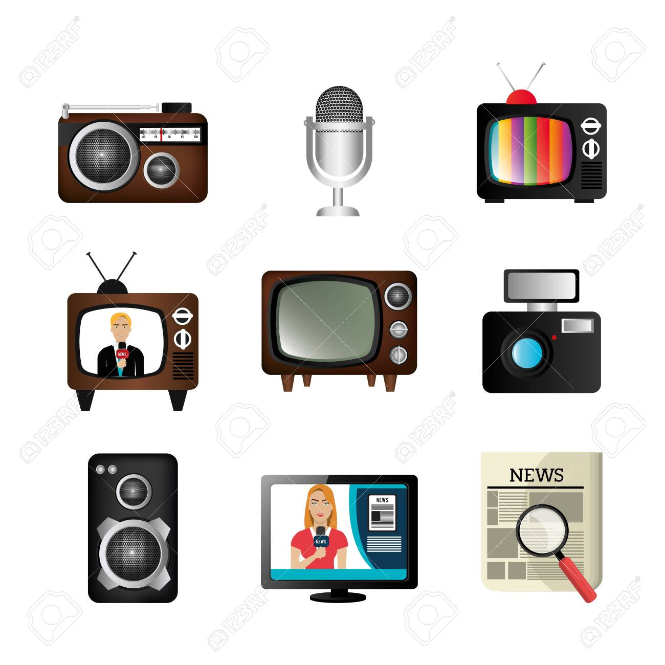 set of news information icons vector illustration design - 139776072