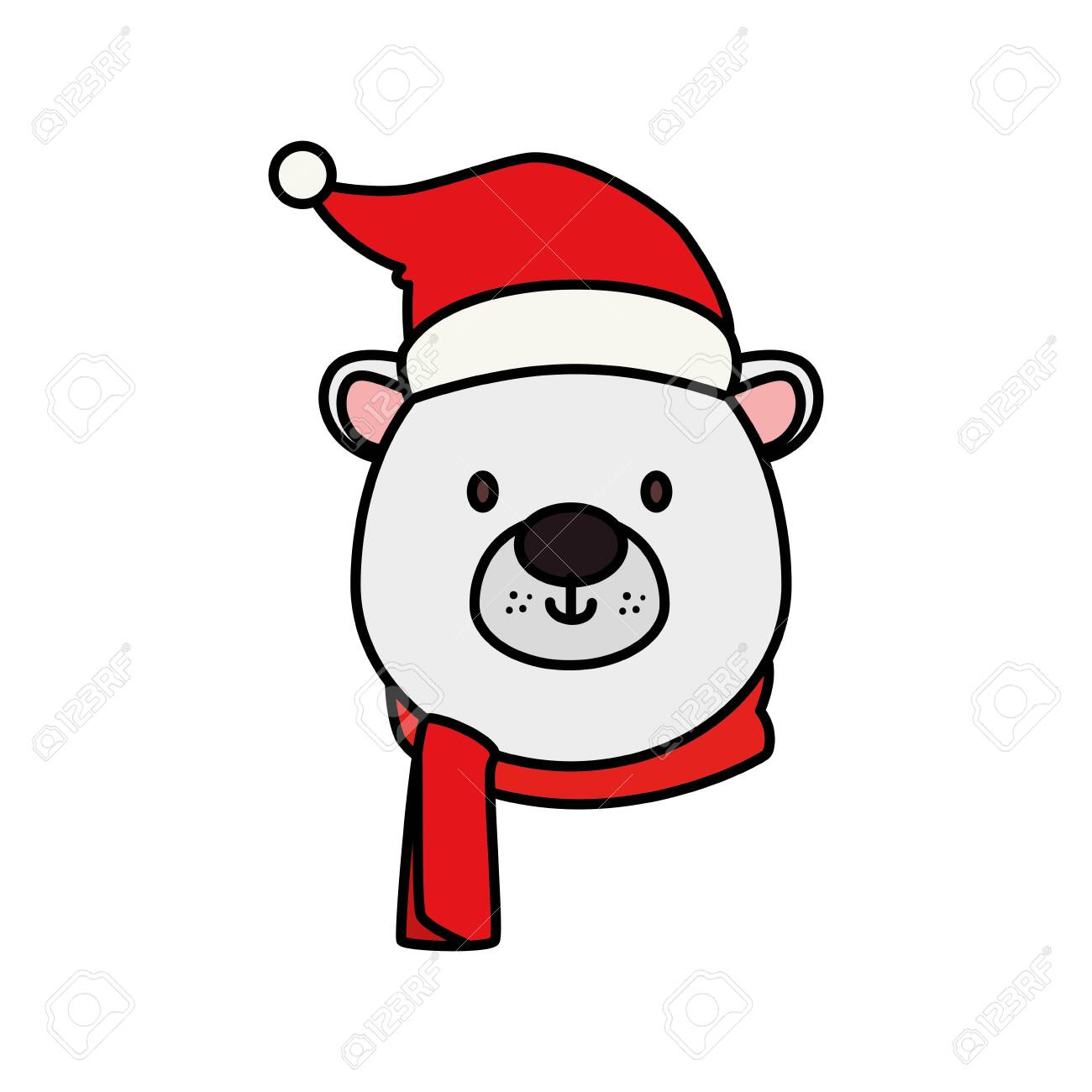 head of cute bear character merry christmas vector illustration design - 140202980