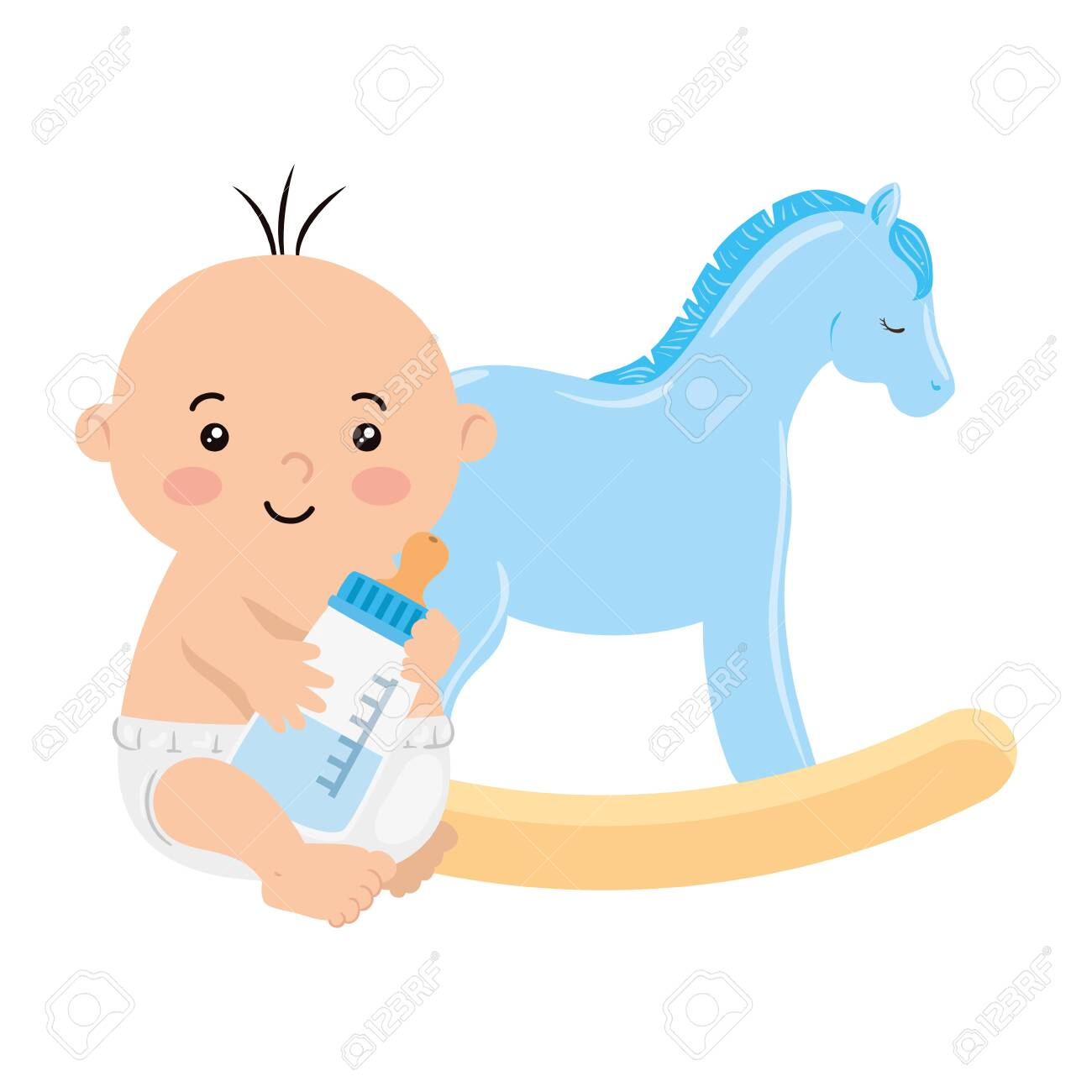 Cute Baby Boy With Bottle Milk And Wooden Horse Toy Vector Illustration Royalty Free Cliparts Vectors And Stock Illustration Image 141352233
