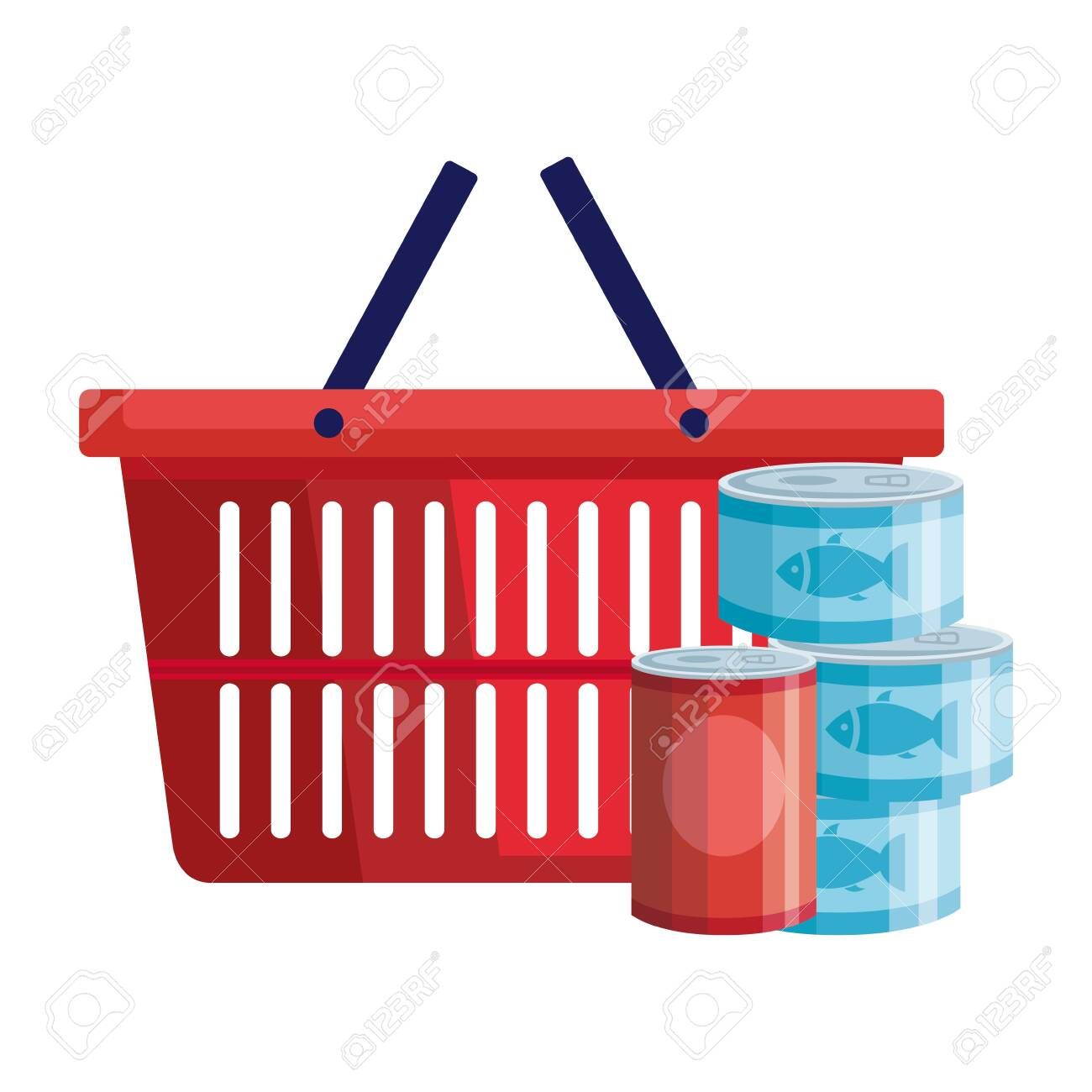 set of cans tuna food with basket shopping vector illustration design - 144318628