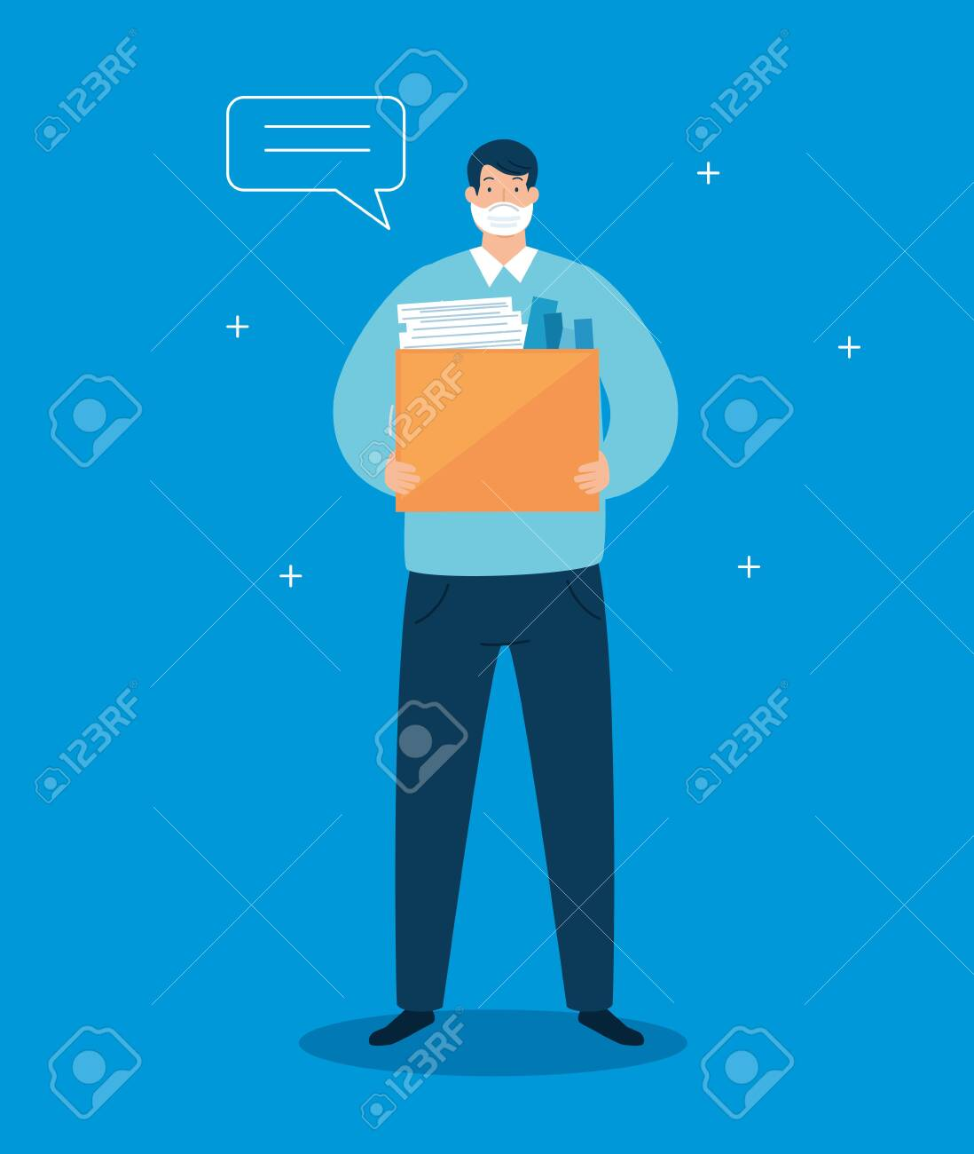 businessman unemployed and box with objects vector illustration design - 144802889
