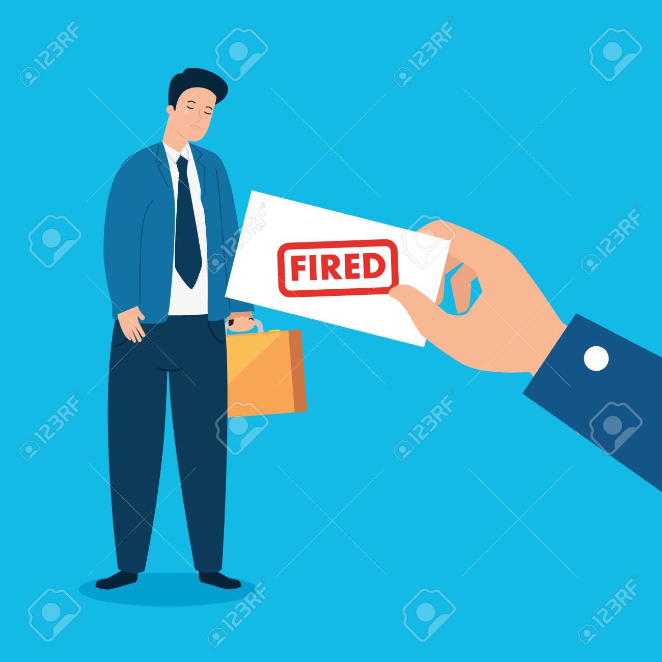 businessman sad fired of work vector illustration design - 144873382