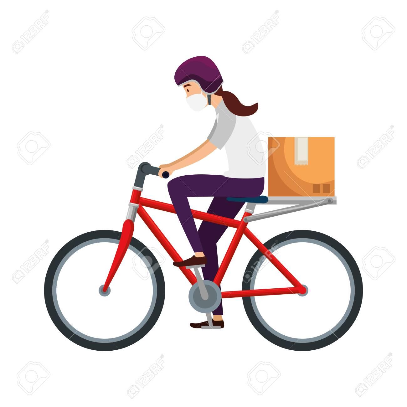 delivery worker female using face mask in bike vector illustration design - 144917335