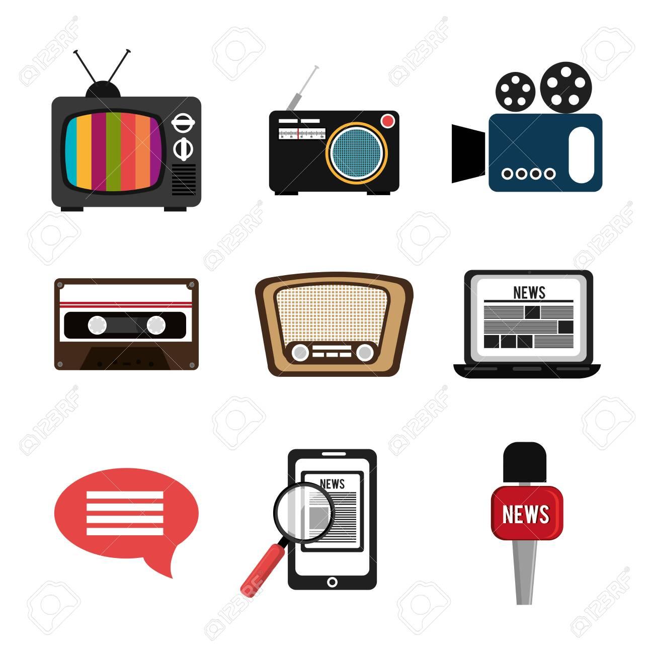 set of news information icons vector illustration design - 145077794