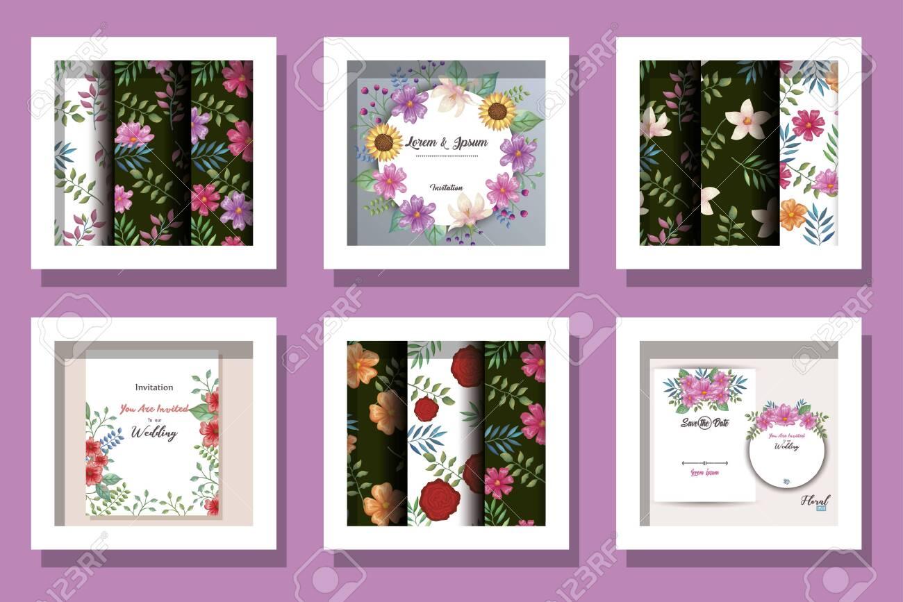bundle of cards invitation with flowers decoration vector illustration design - 145611698