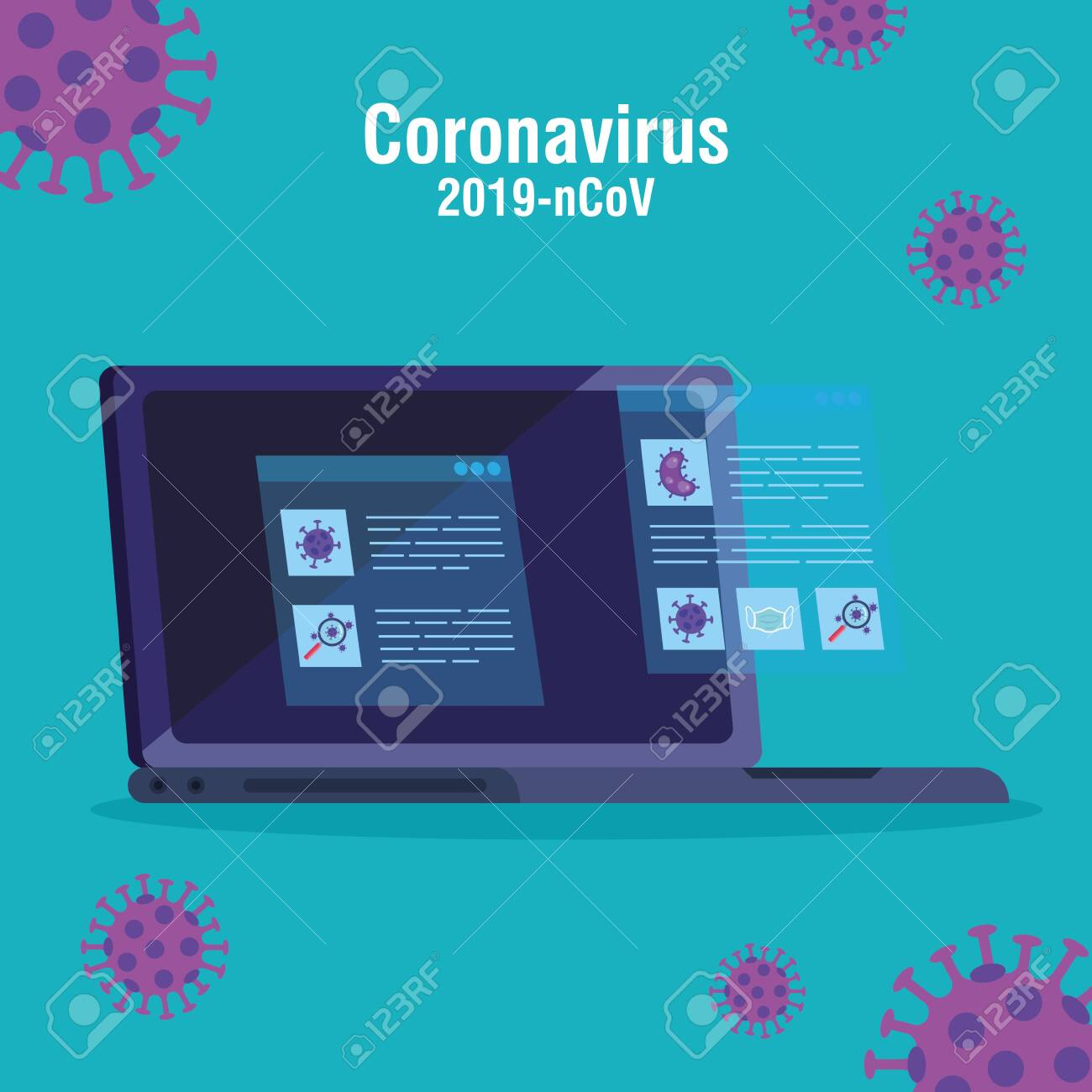 searching 2019 ncov information online in laptop computer vector illustration design - 147278914