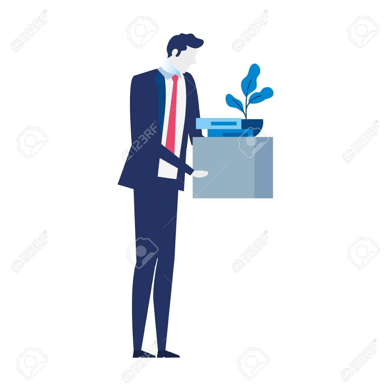 man unemployment concept, company worker holding stuff in box vector illustration design - 148132083