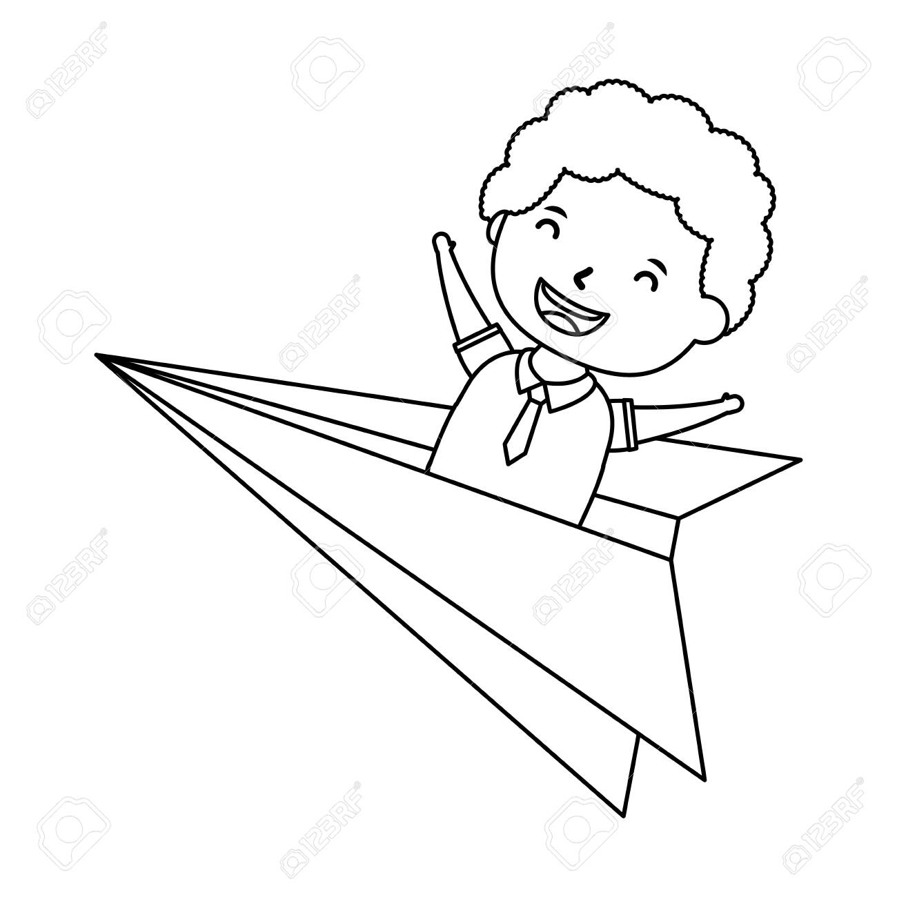 Cute Little Student Boy In Paper Airplane Vector Illustration Royalty Free Cliparts Vectors And Stock Illustration Image 149143347