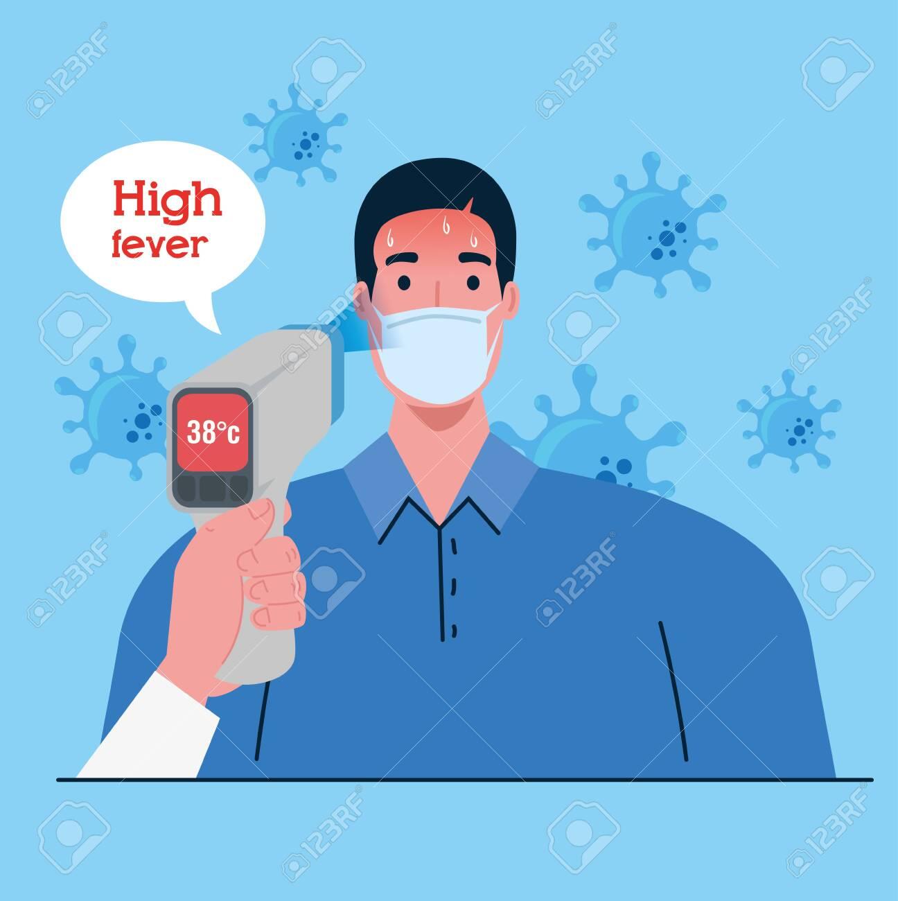 Covid 19 Coronavirus Hand Holding Infrared Thermometer To Measure Body Temperature Man With High Temperature Fever Concept Vector Illustration Design Ilustraciones Vectoriales Clip Art Vectorizado Libre De Derechos Image 149432950