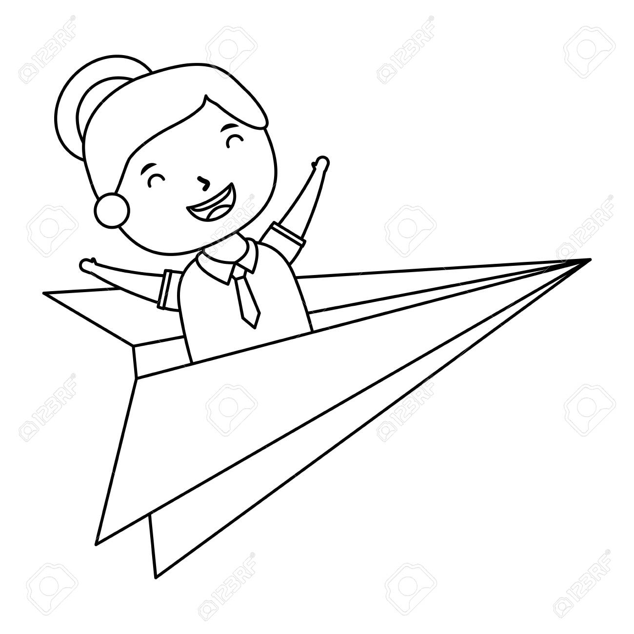 Cute Little Student Girl With Paper Airplane Vector Illustration