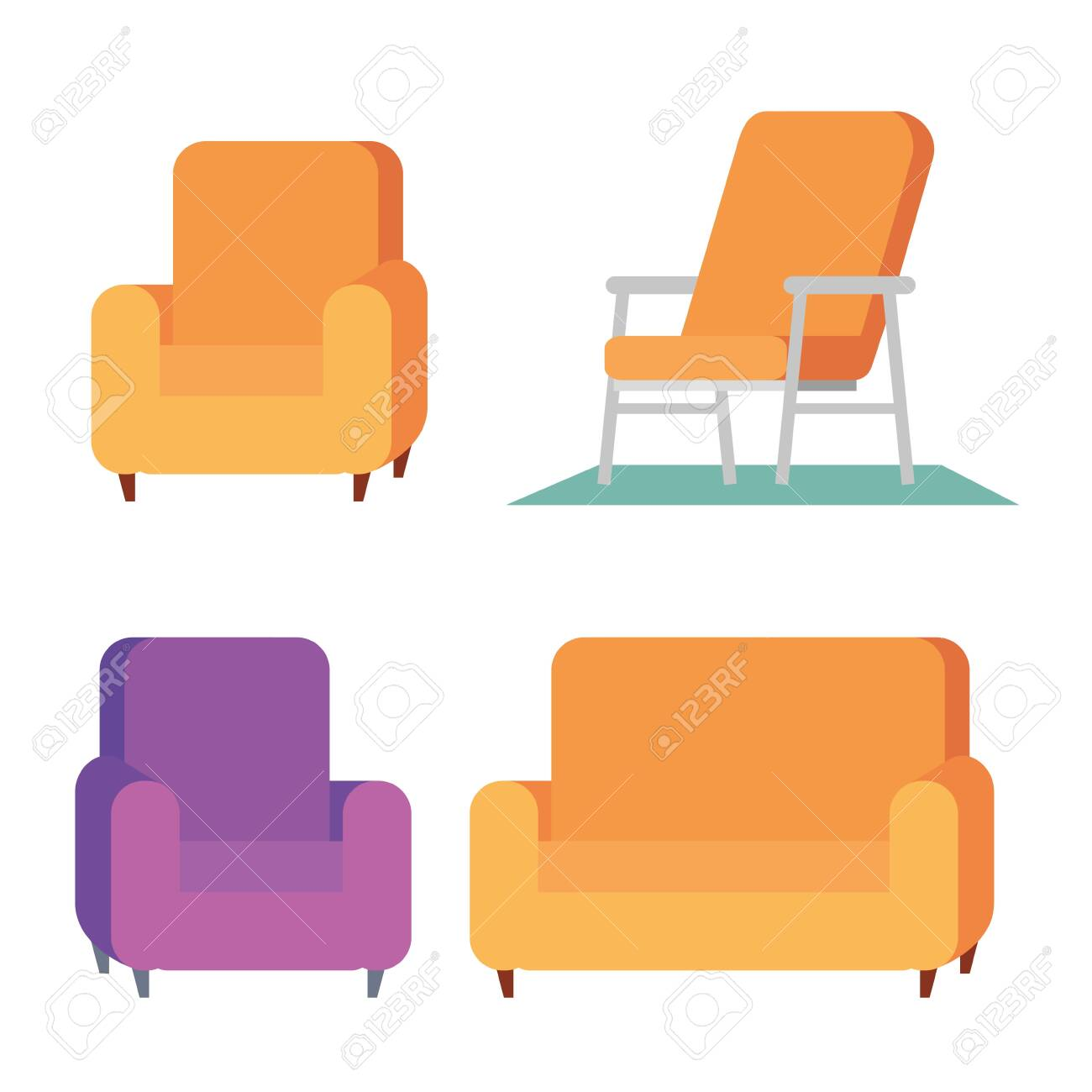 Home Office Furniture Set Icons Vector Illustration Design Royalty Free Cliparts Vectors And Stock Illustration Image 149853394