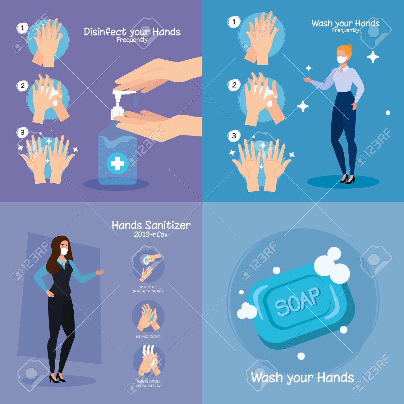 Businesswomen with masks and hands sanitizer and washing steps design, Disinfects clean antibacterial and hygiene theme Vector illustration - 150766885