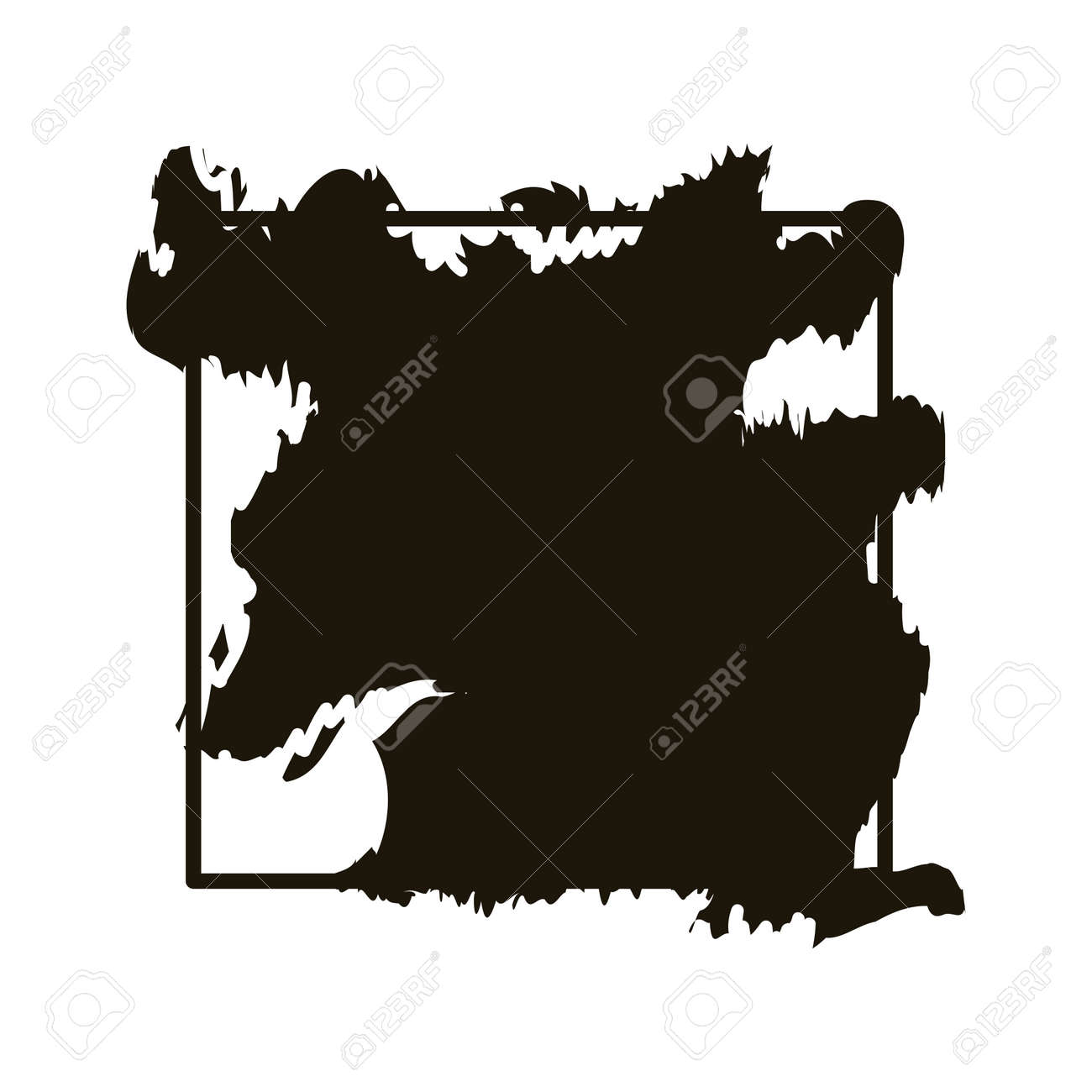 stain in square frame creative design with brush stroke silhouette style vector illustration design - 151204629