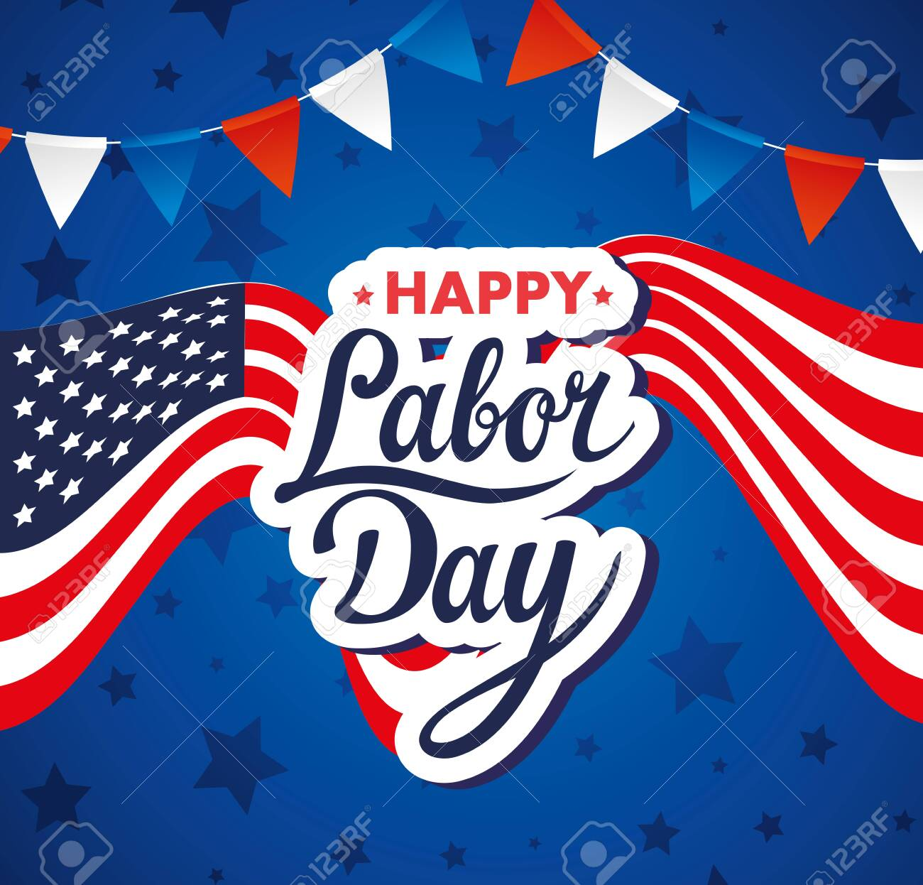 happy labor day holiday banner with united states national flag and garlands hanging vector illustration design - 151989824