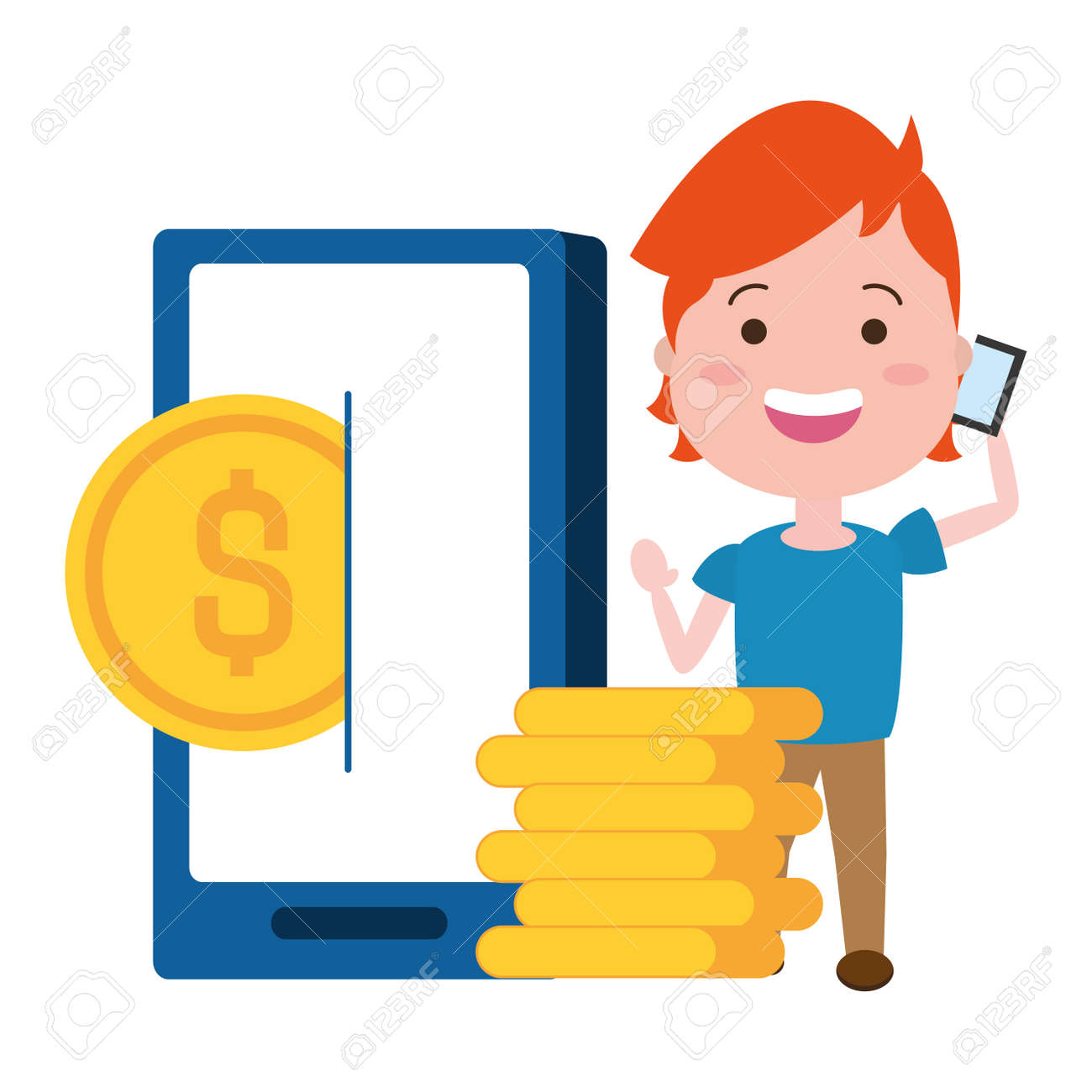 woman using smarphone with coins dollars vector illustration design - 152287491