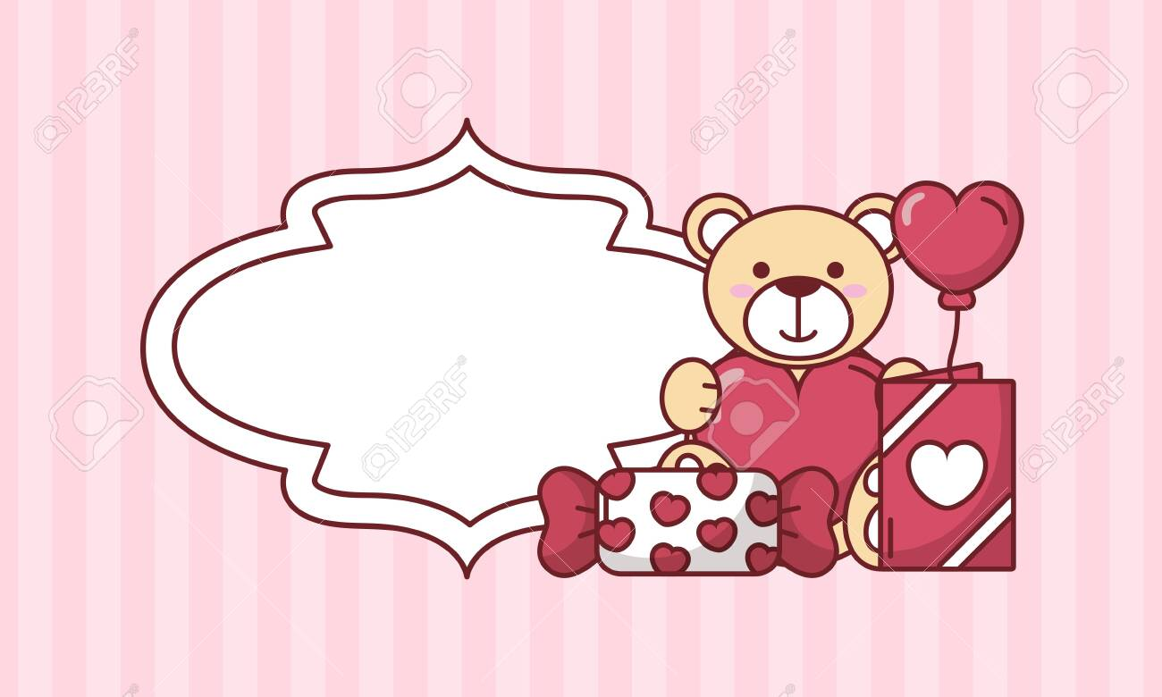 Teddy bear with heart balloon and candy design of Valentines day love and passion theme Vector illustration - 152556381