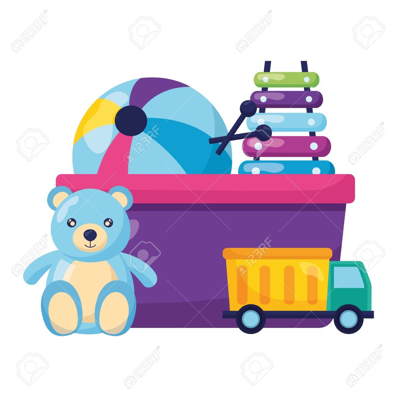 bear xylophone truck ball kids toys vector illustration - 152559111