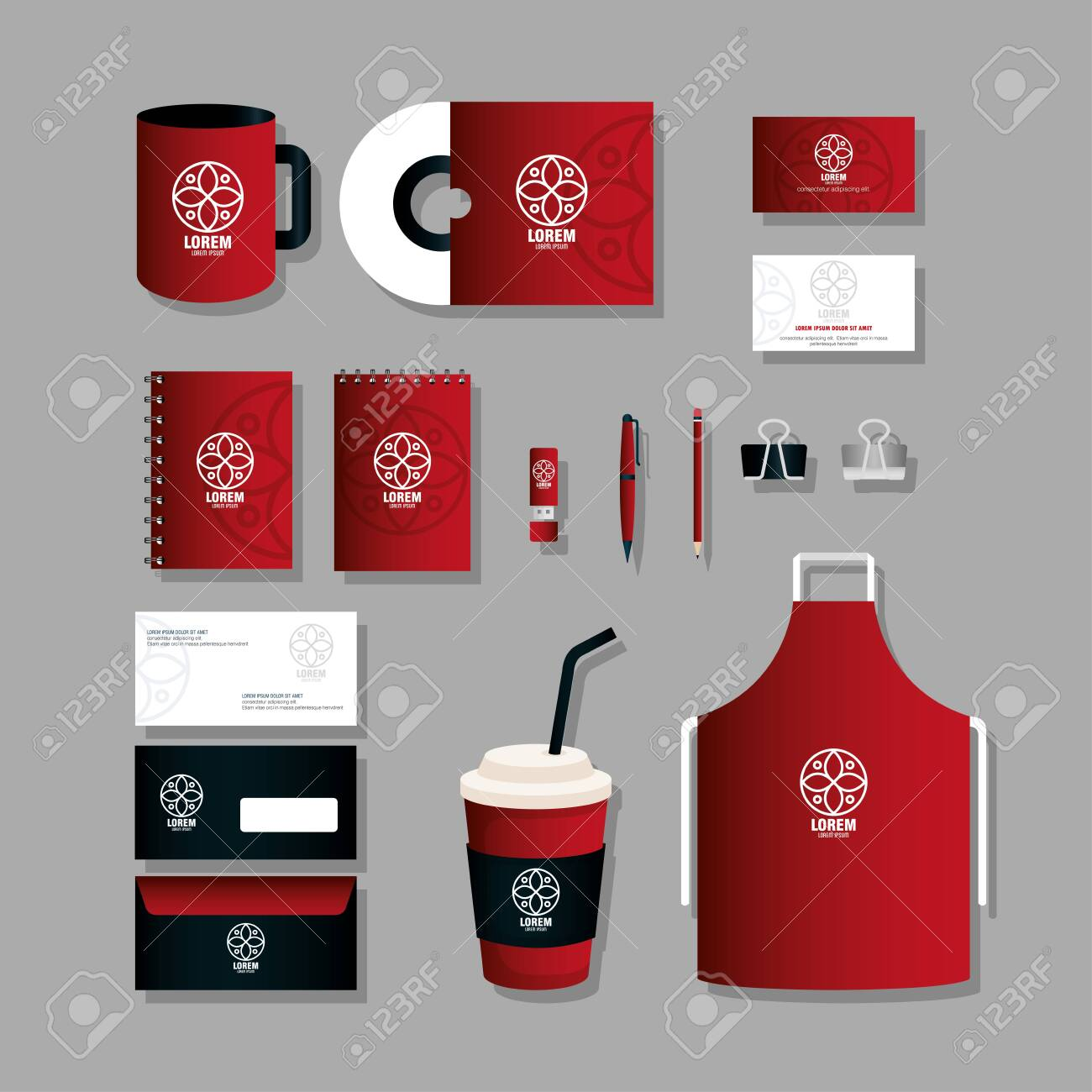 corporate identity brand mockup, set business stationery, black and red mockup with white sign vector illustration design - 152768193