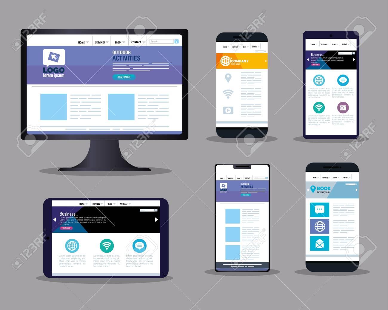 mockup responsive web, concept website development on electronics devices vector illustration design - 153514734