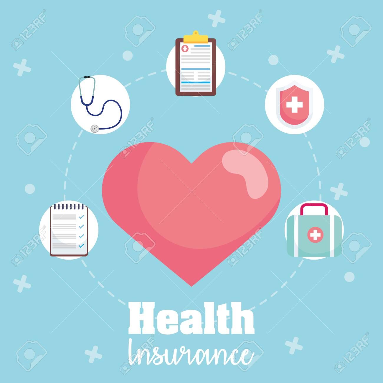 health insurance service with heart cardio vector illustration design - 153856707
