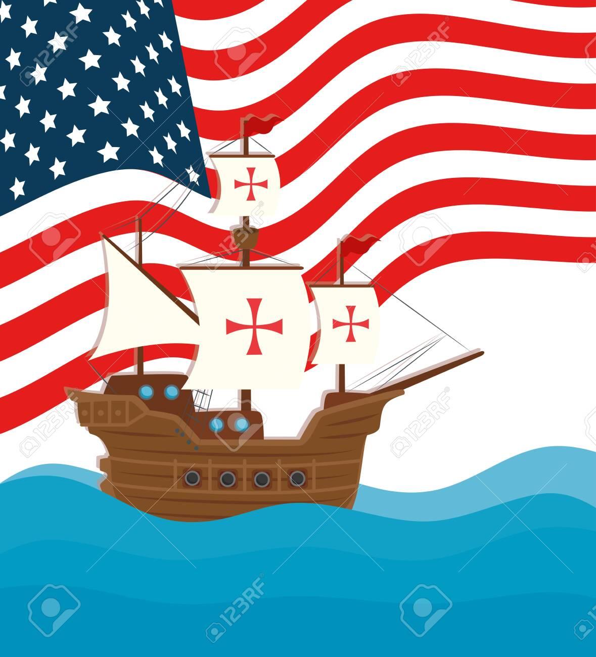 happy columbus day national usa holiday, with ship carabela vector illustration design - 154057292