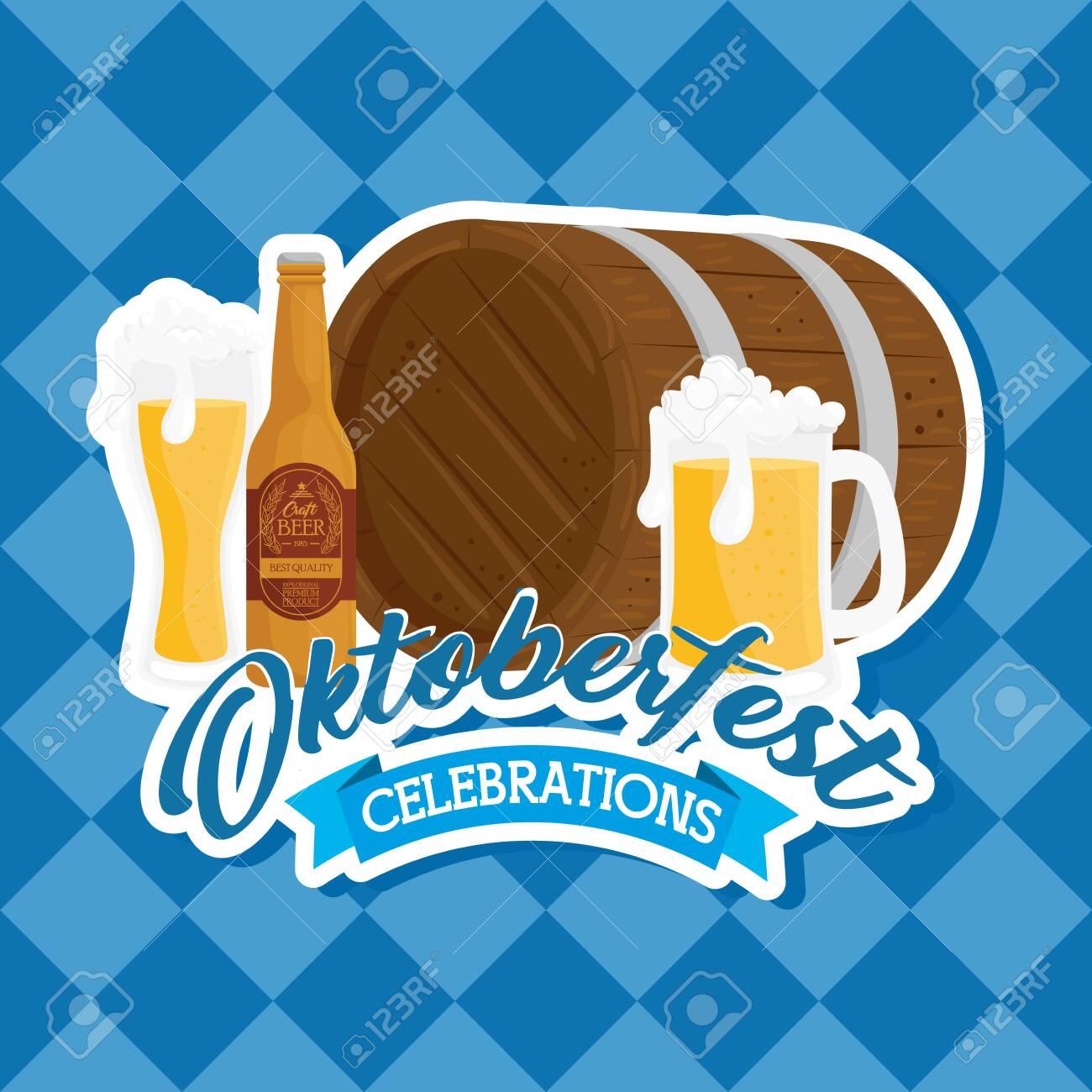 oktoberfest festival celebration with wooden barrel and craft beers vector illustration design - 154311559