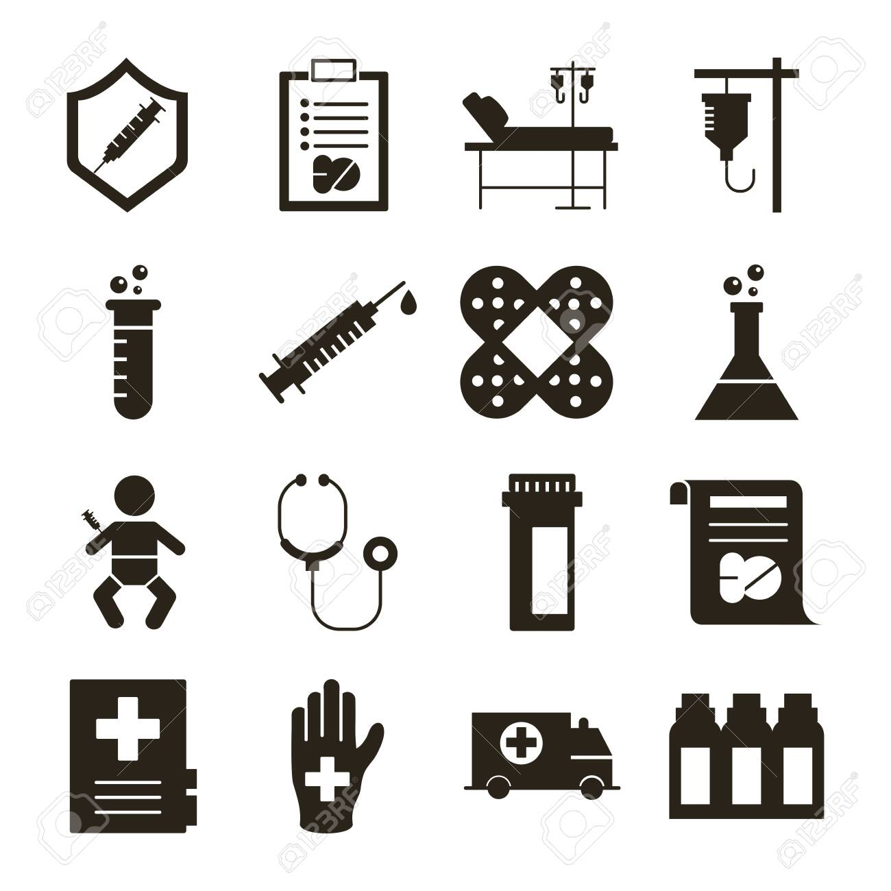 bundle of sixteen medical set collection icons vector illustration design - 154440860