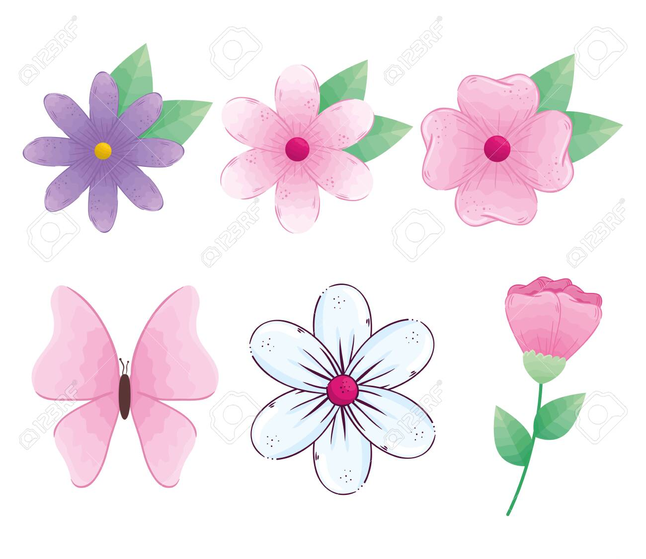 flowers with leaves and butterfly design, natural floral nature plant ornament garden decoration and botany theme Vector illustration - 154417763