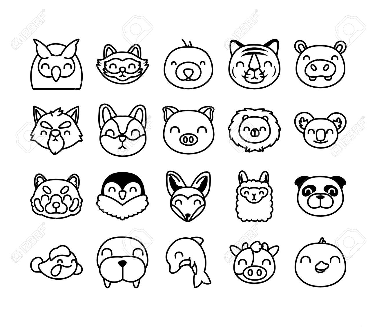 bundle of cute animals characters vector illustration design - 156988475