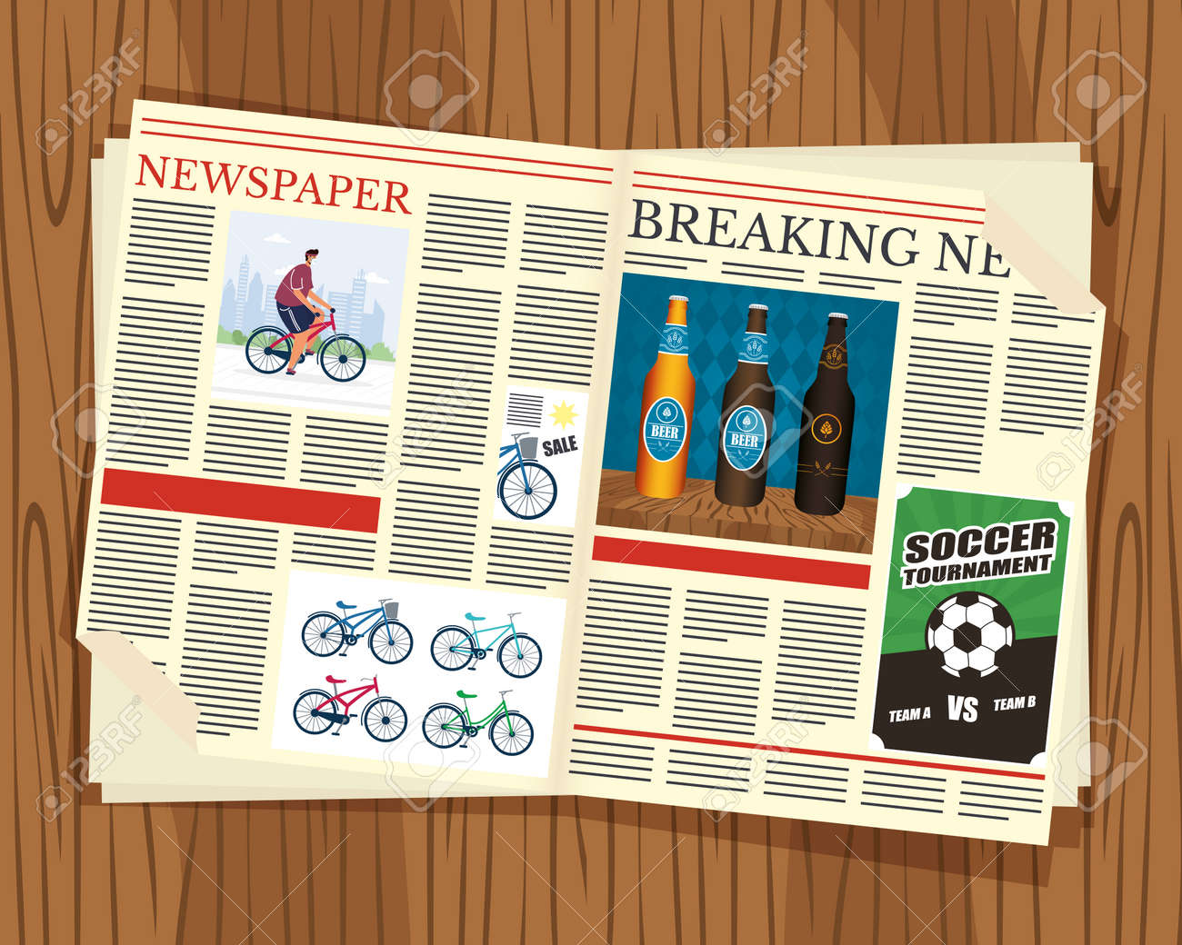 news paper communication with wooden background vector illustration design - 157670124