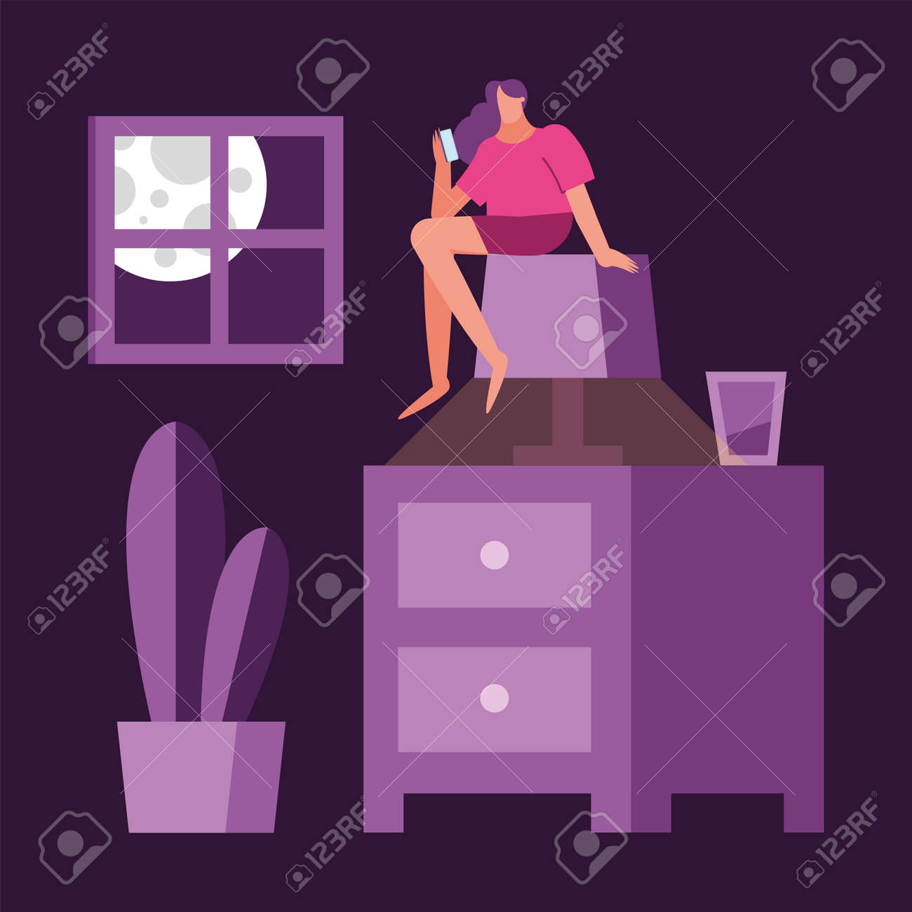 woman using smartphone seated in lamp suffering from insomnia vector illustration design - 158295496