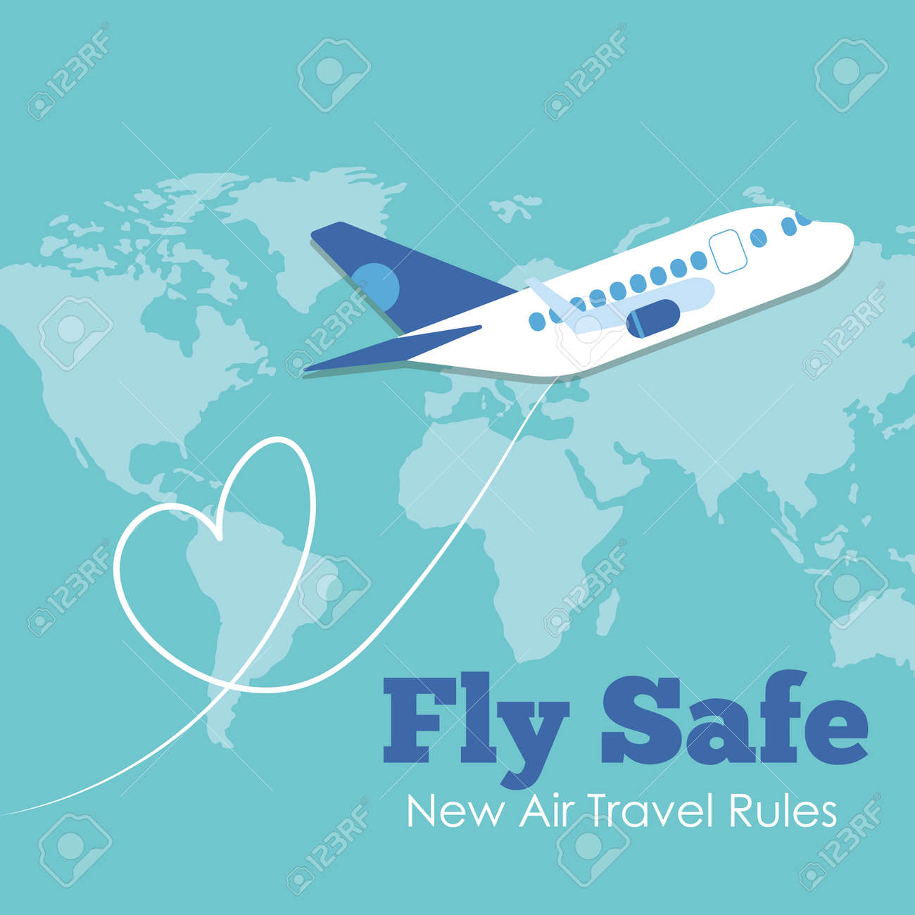 fly safe campaign lettering poster with airplane flying and earth maps vector illustration design - 158603174