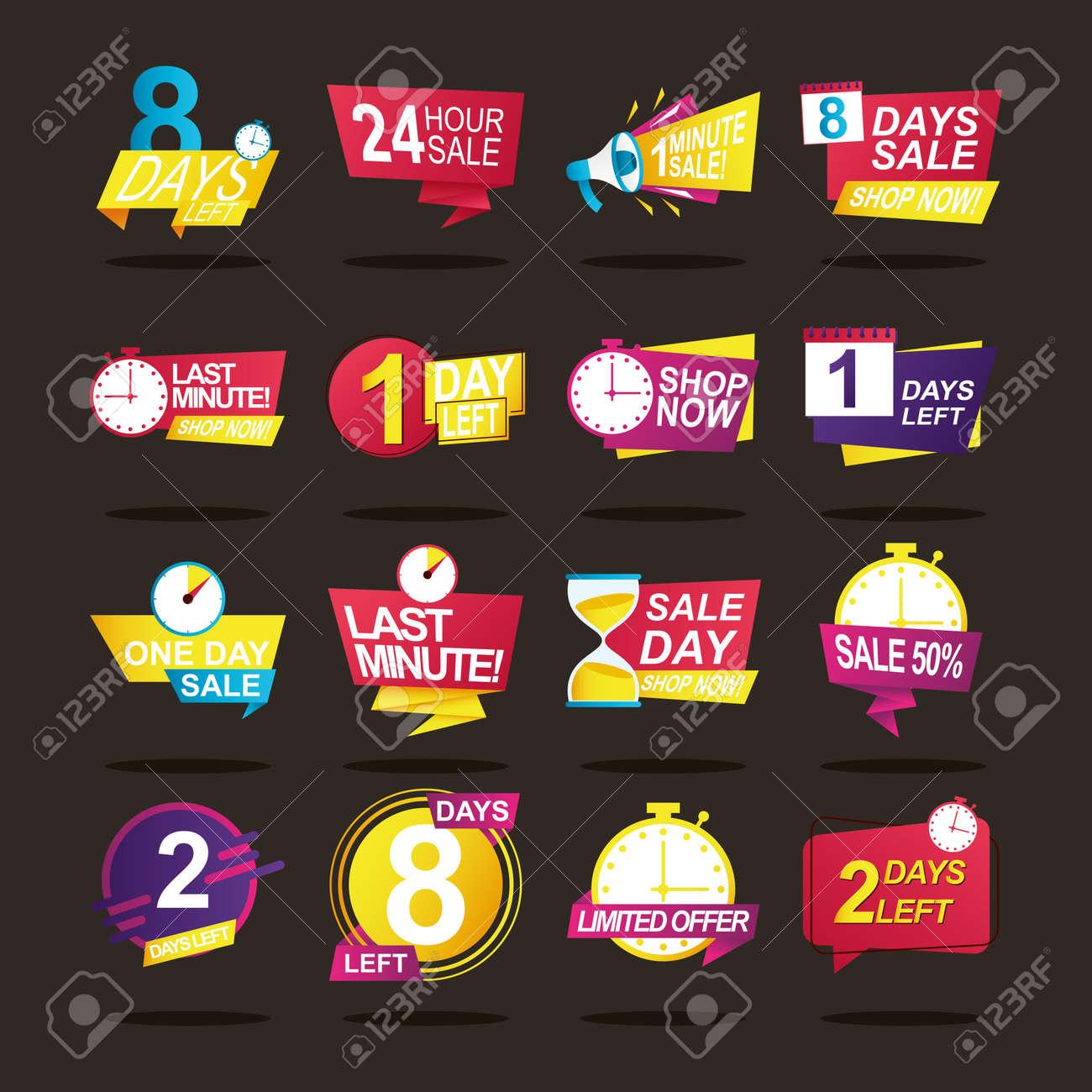 bundle of sixteen sale countdown badges vector illustration design - 159050177