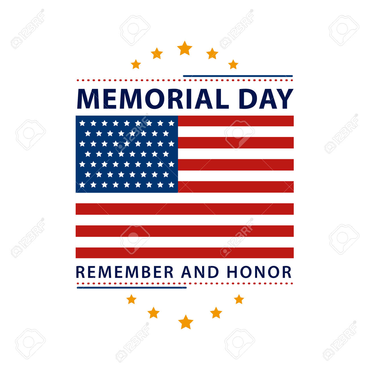memorial day label with flag - 166496364