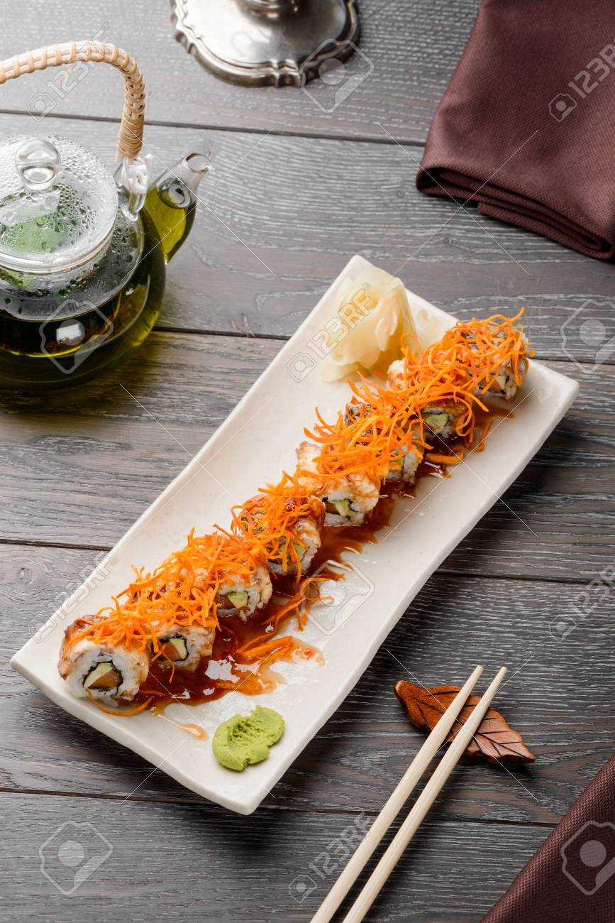 Delicious maki rolls on white - 117222242
