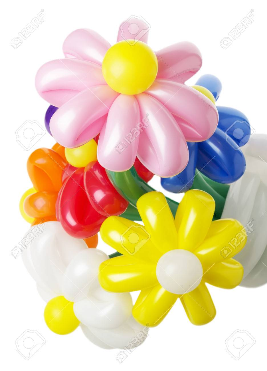 Bouquet With Colorful Balloon Flowers On The White Background. Stock ...