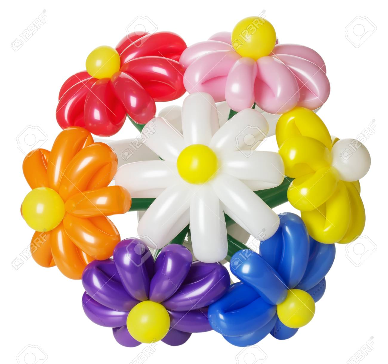 Bouquet With Balloon Flowers Isolated On The White Background. Stock ...