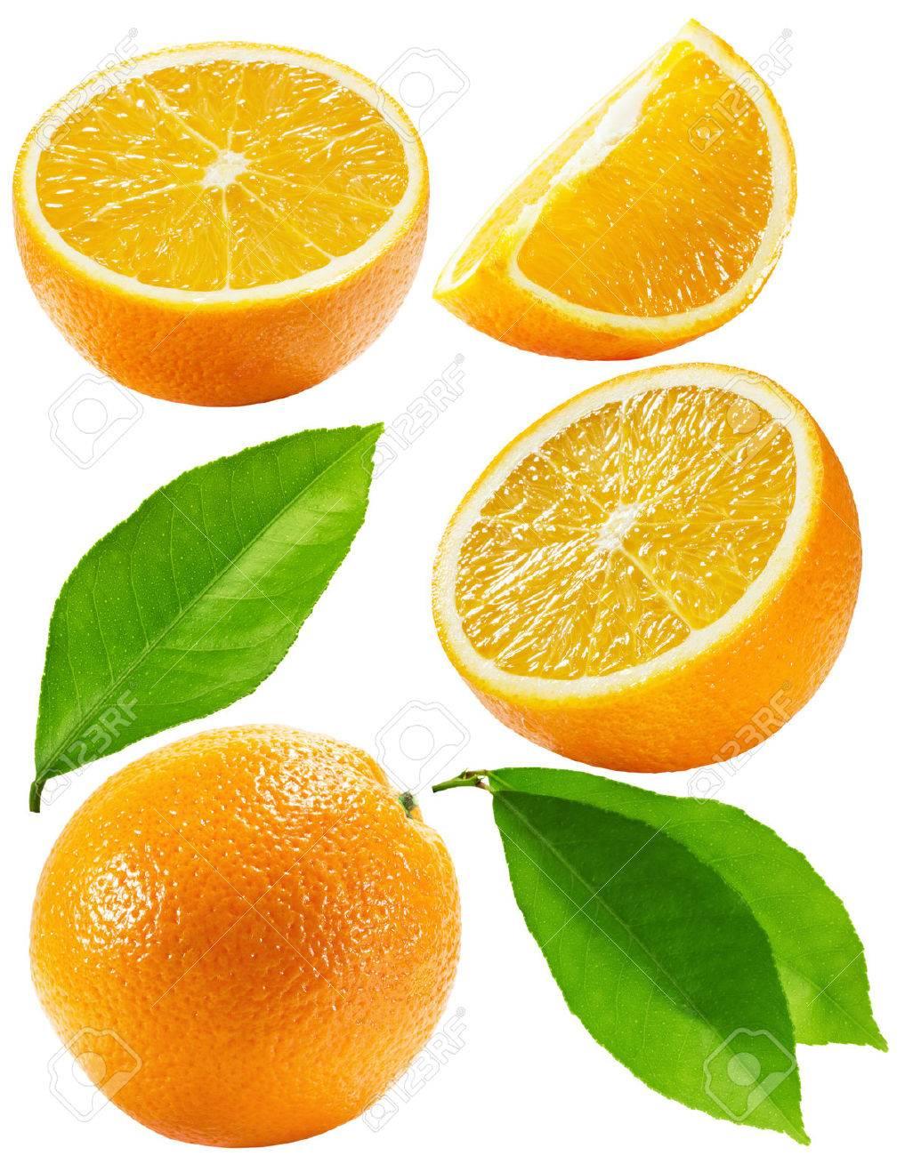 set of oranges isolated on the white background. - 38642024