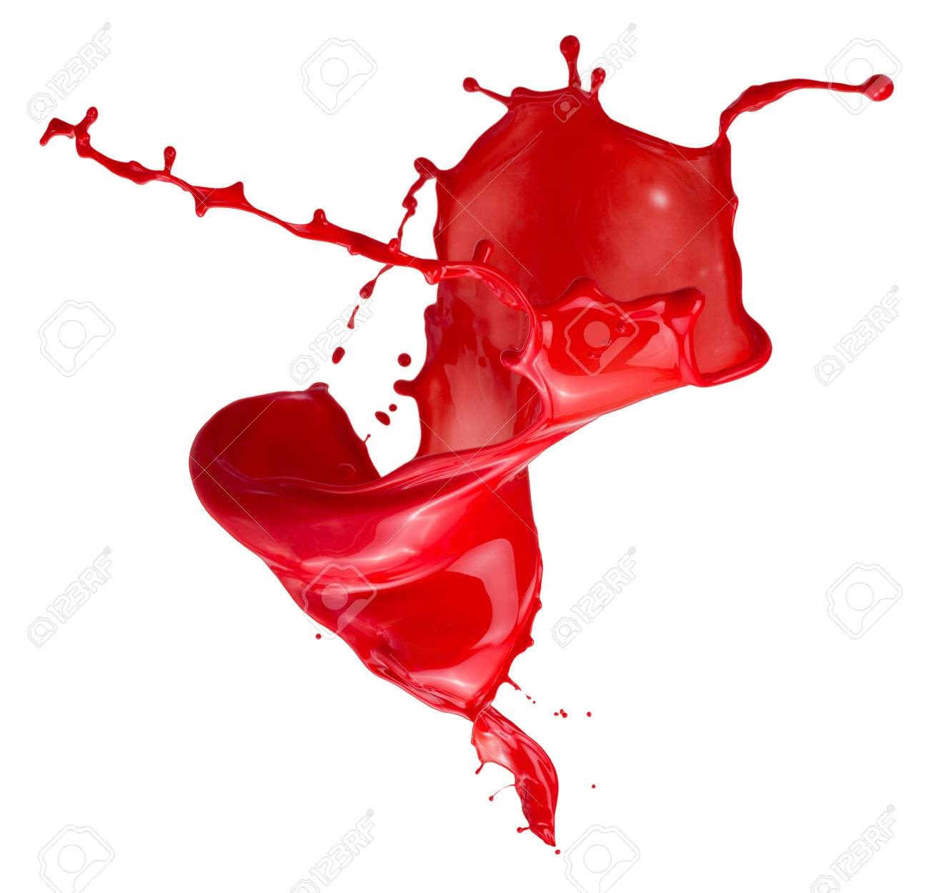 Rote Farbe Splash Isoliert Auf Weissem Hintergrund Lizenzfreie Fotos