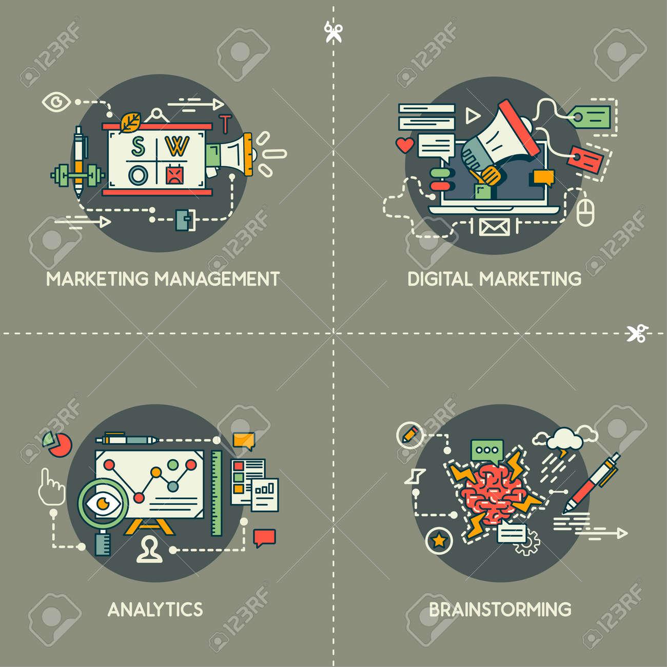 Marketing management, digital marketing, analytics, brainstorming - 148482023