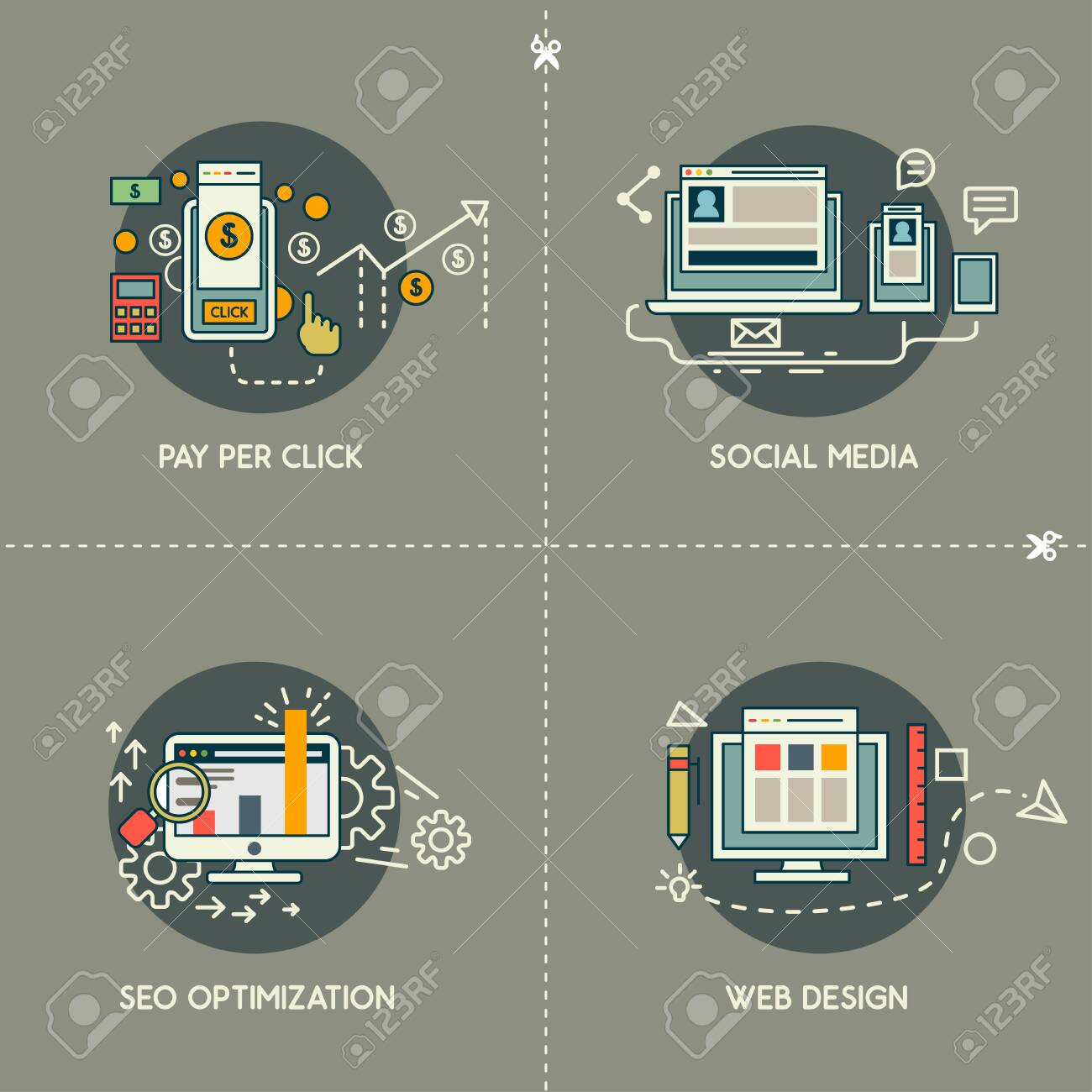 Pay Per Click Social Media Web Design Seo Royalty Free Cliparts Vectors And Stock Illustration Image 148482466