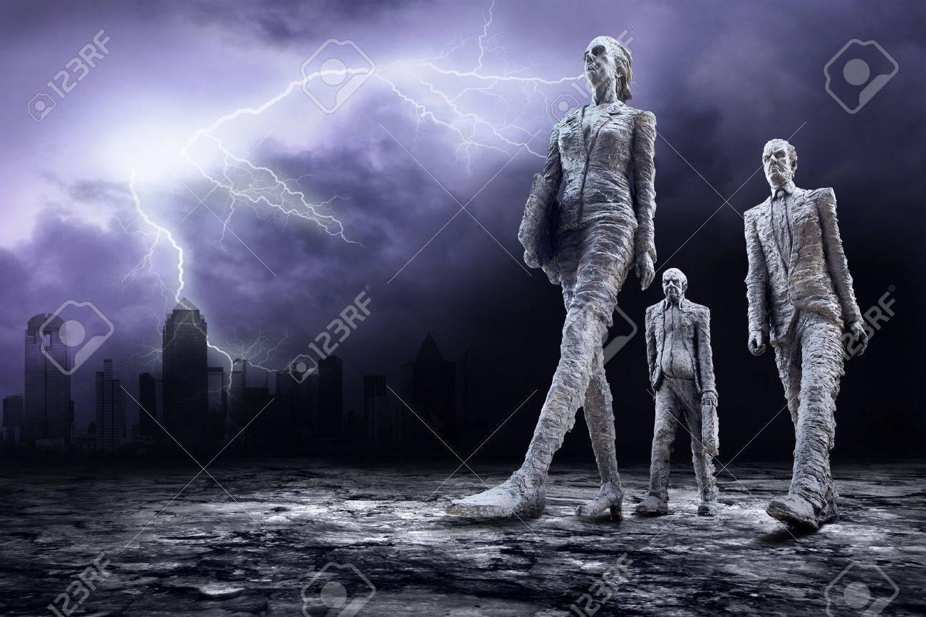 Crisis in world on dark sky with lightning Stock Photo - 7996016