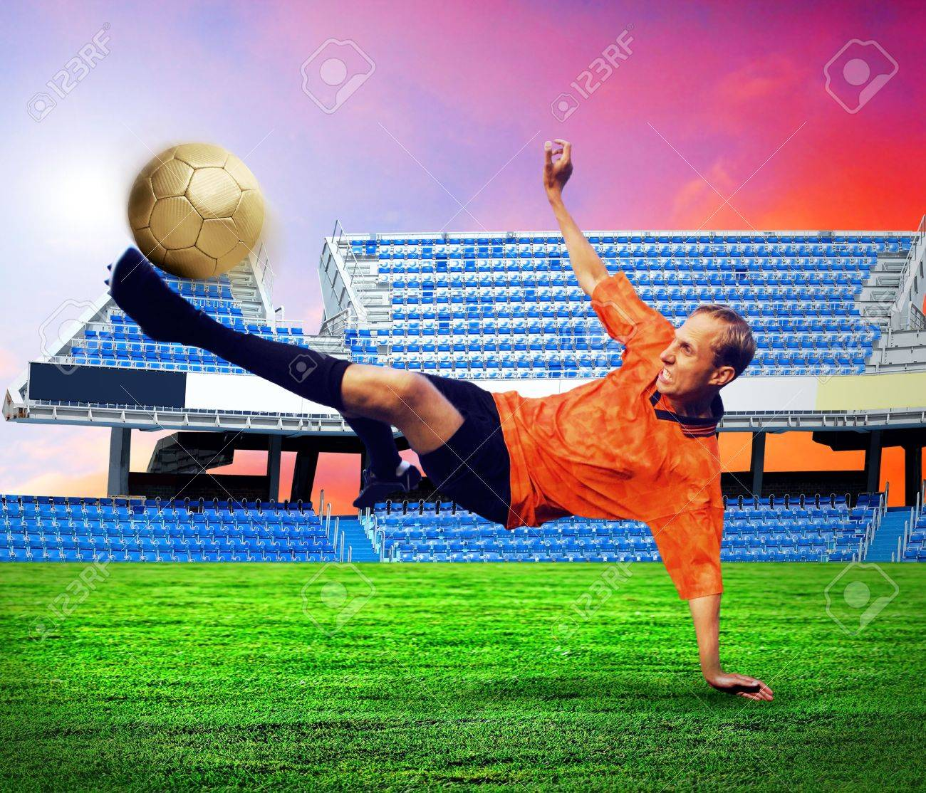 Happiness football player after goal on the field of stadium under sky Stock Photo - 7997212