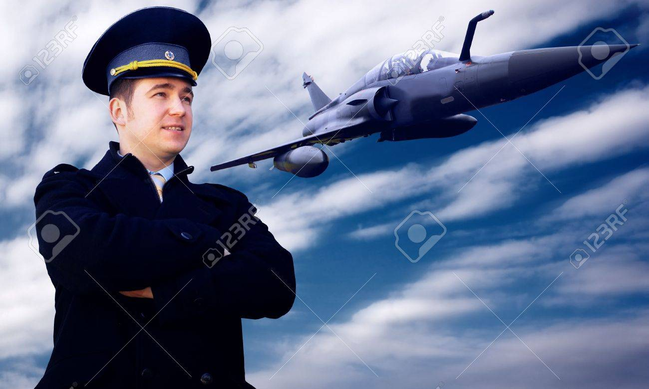 Pilot and military airplan on the speed Stock Photo - 8171973