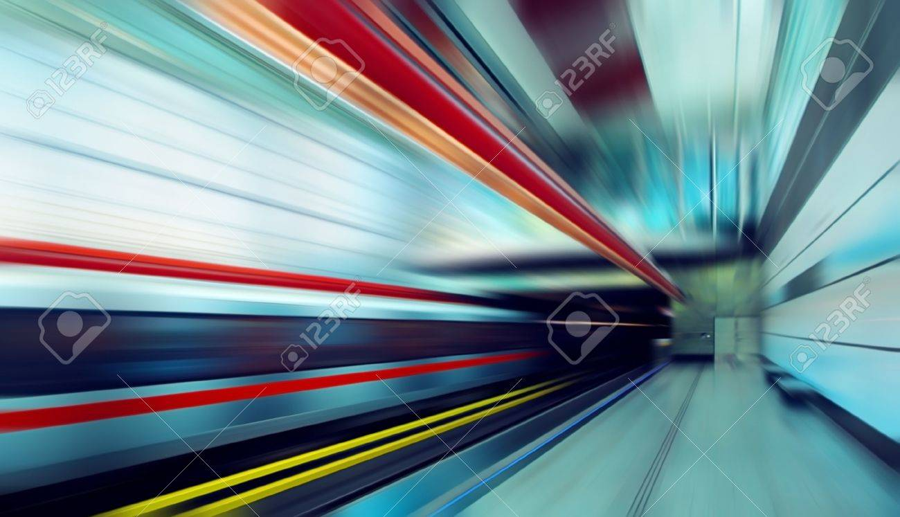 Train on speed in railway station Stock Photo - 8339019