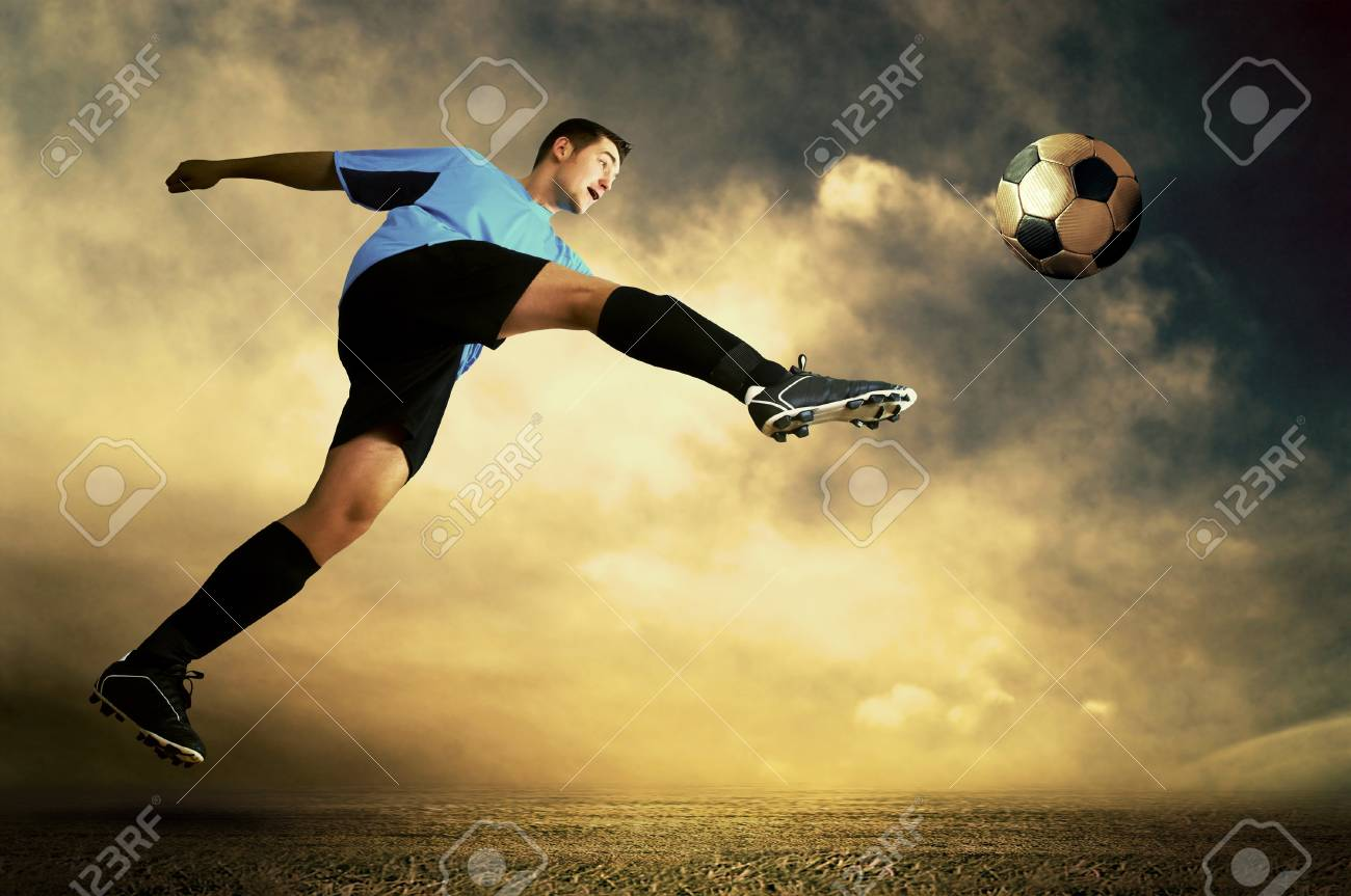 Shoot of football player on the outdoor field Stock Photo - 8407783